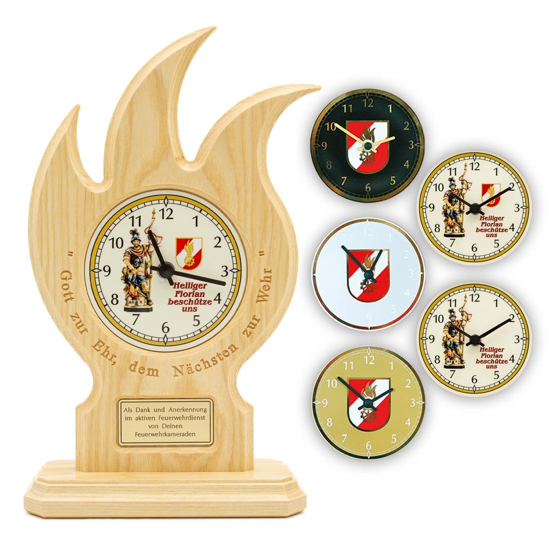 Uhr Mit Schriftzug Im Holz Feuerwehr Geschenke At