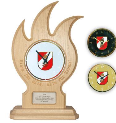 Uhr mit Gravur Feuerwehrgeschenk Drechslerei Wascher